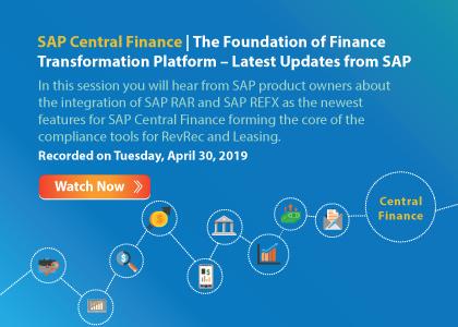 SAP Central Finance – The Foundation of Finance Transformation Platform – Latest Updates from SAP